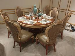 luxury round dining table luxury wood carved round dining table and chairs for 6 persons hl