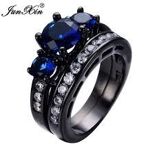 aliexpress buy junxin new arrival black junxin new white zircon blue women ring sets
