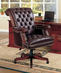 Swivel Chairs Design Ideas Furniture Luxury Leather Brown Tufted Office Chair Design