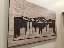 denver skyline wood carved wall mountain mountain
