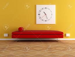 red velvet sofa and modern clock digital artwork stock photo