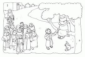 Jesus And Zacchaeus Coloring Page Free Coloring Jesus And Zacchaeus Coloring Page