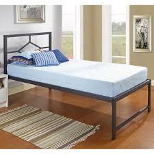 excepcional black metal twin size day bed frame with headboard