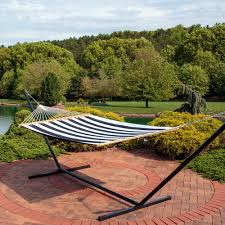 15 Ft Hammock Stand Sunnydaze 2 Person Freestanding Quilted Fabric Spreader Bar