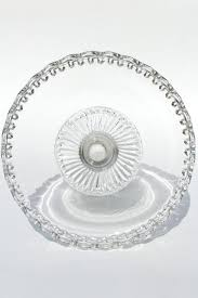 Crystal Pedestal Cake Stand Vintage Clear Glass Cake Stand Open Lace Edge Crocheted Crystal