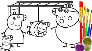 how to draw peppa pig playground coloring pages kid drawing