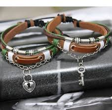 leather bracelet price images Quot perfect couple quot sweet key and lock leather lovers jpg