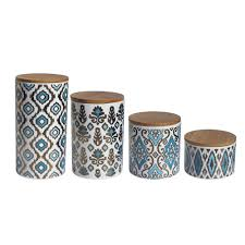 brown kitchen canisters 4 canister set blue gold white demask style kitchen