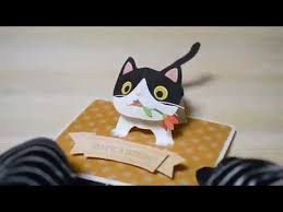 pop up birthday card ブチネコちゃん bicolor cat youtube