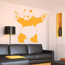 banksy panda wall sticker by ta dah wall art notonthehighstreet com banksy panda wall sticker