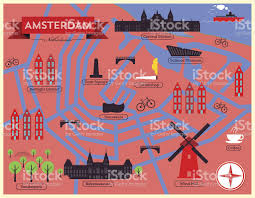 Amsterdam Map Europe by City Map Illustration Of Amsterdam Landmarks And Vector Map Icons
