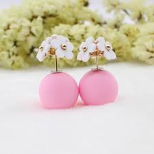sided stud earrings pearl flower and sided stud earrings hyperion