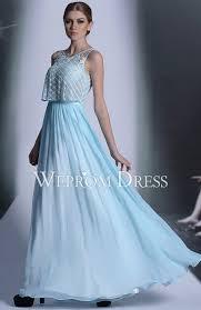simple scoop neck chiffon ankle length light blue long prom dress