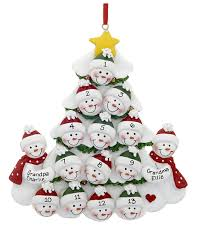 grandparent ornaments personalized 2 snowmen grandparents tree with 13 grandchildren personalized or
