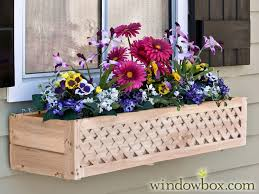 Wooden Window Flower Boxes - lattice cedar wood window box with mounting bracket