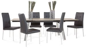 charlotte taupe tempered glass and stainless steel dining table