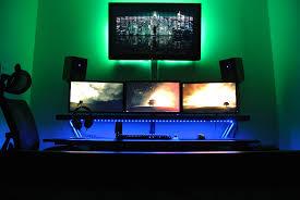 Home Computer Room Interior Design Hdtv Over Trips With Leds And Backlight Battlestation