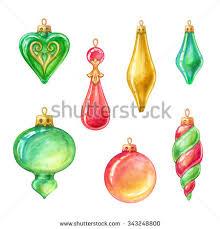 tree ornaments assorted glass balls stock illustration