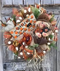 Halloween Wreaths Pinterest by Fall Wreath Autumn Wreath Scarecrow Wreath Pumpkin Wreath By Ba