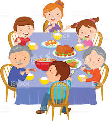 thanksgiving dinner cartoon pics family dinner stock vector art 507363112 istock