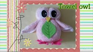 fun towel fold craft tutorial diy washcloth folding owl摺毛巾