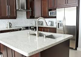 Kitchen With Brown Cabinets Medium Brown Cabinets With White Quartz Countertop Google Search
