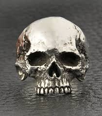 silver skeleton ring holder images Skull ring half jaw mens silver skull ring biker ring rocker jpg