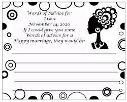 words of wisdom bridal shower regal american bridal shower advice card