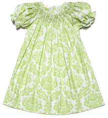 le za me infant toddler green damask smocked bishop