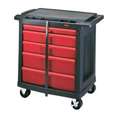 rubbermaid service cart with cabinet rubbermaid commercial products 32 6 in 5 drawer mobile workbench