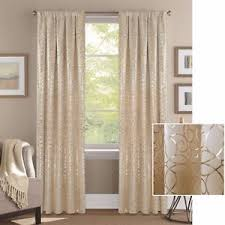Gold Metallic Curtains Premium Textured Weave Beige Gold Metallic Scroll Print Curtains