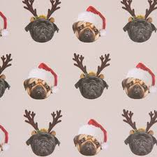 pug wrapping paper christmas pug single sheet wrapping paper with tag 15608