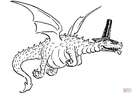 flying dragon with funny hat coloring page free printable