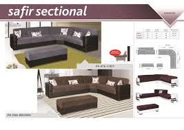 Sectional Sofa Dimensions 1 497 00 Safir Sectional Sofa Microfiber Brown D2d Furniture Store