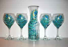 halloween goblets hand painted wine decanter and red wine goblets peacock