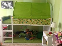 ikea kura bed hack blue or green tent on top toy reading area