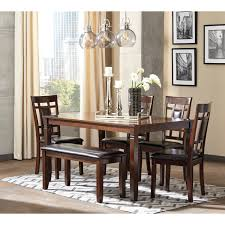 dining room table and bench contemporary 6 piece dining room table set with bench by signature