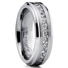 mens ring oliveti titanium men s channel set princess cut cubic zirconia 7mm