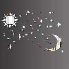 compare prices on star wall mirror online shopping buy low price sun moon stars stickers mirror diy acrylic marriage room kids room wall stickers living room sofa