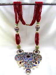 colored necklace chains images Fancy long ruby chains colored enamel stylish ruby necklace jpg