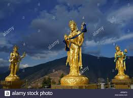 golden statues of buddhist female gods at buddha dordenma temple