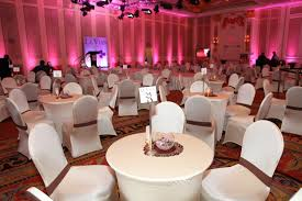 White Spandex Chair Covers Corporate Event Table Setup With Spandex Table Cover And White