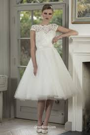 turmec tea length lace wedding dresses with cap sleeves
