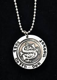 Necklace With Children S Names Monogram Necklace With Children U0027s Names Surrounding Monogram Or