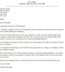 weekend job cover letter example u2013 cover letters and cv examples