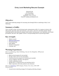 Marketing Resume Example by Entry Level Marketing Resume Example Essaymafia Com