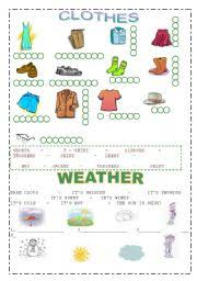 english teaching worksheets weather and clothes