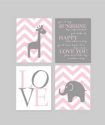 Pink And Gray Nursery Decor Baby Nursery Decor Elephant Nursery You Are My Sunshineh