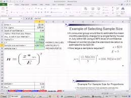 How To Calculate The Needed Excel 2010 Statistics 77 Determine Sample Size Youtube