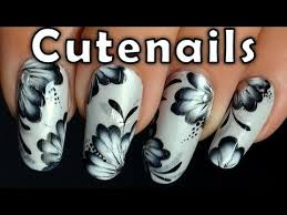 one stroke nail art tutorial black and white nails pinterest